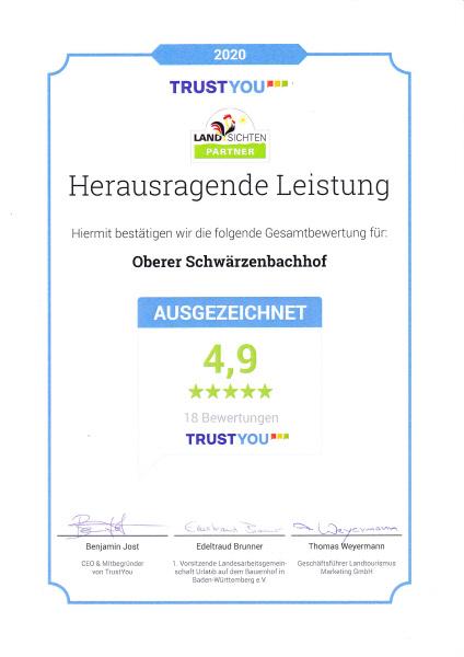 TrustYou Auszeichnung für den Oberen Schwärzenbachhof durch hervorragende Gästebewertungen